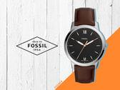 【時間道】FOSSIL經典簡約羅馬刻度薄型腕錶 /黑面玫瑰金刻深棕皮帶 (FS5464)免運費
