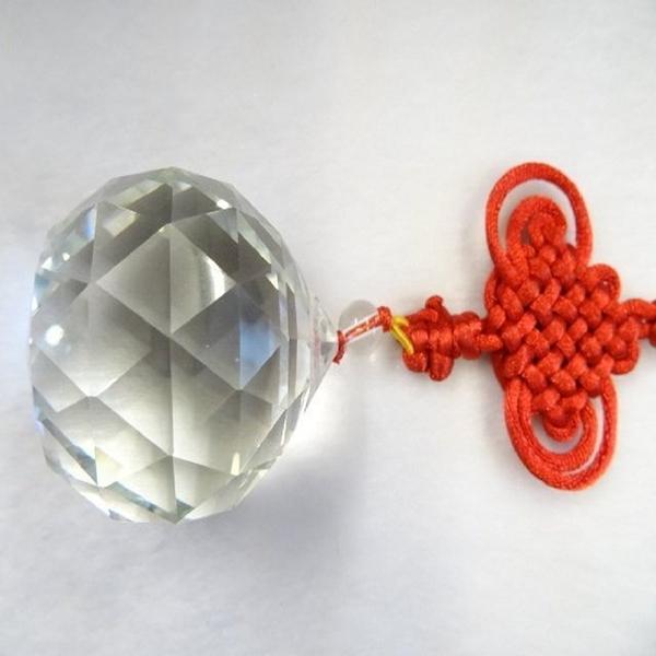【Ruby工作坊】NO.2A奧地利4.1CM切割面白水晶球紅粗線吊飾(加持祈福)