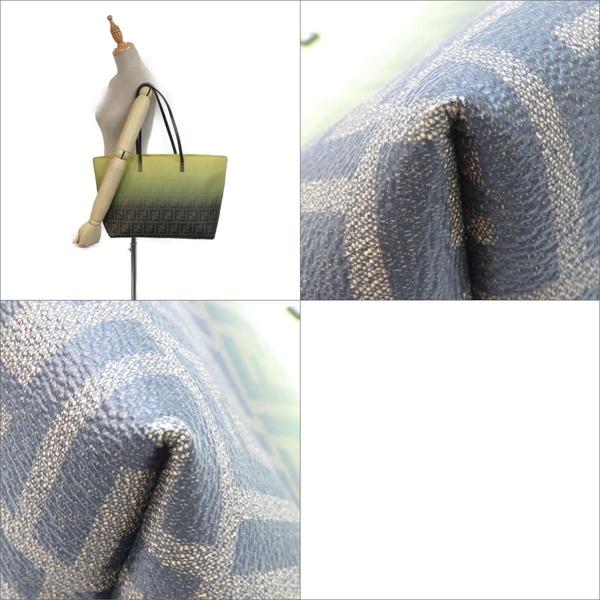 FENDI 芬迪 青綠/咖啡色PVC肩背包 Ombre Zucca Tote Bag【二手名牌BRAND OFF】