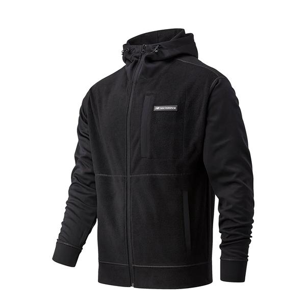 New Balance 男裝 外套 連帽 休閒 抽繩 口袋 LOGO 黑【運動世界】MJ03518BK