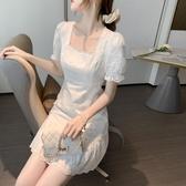 滿千免運~長袖洋裝連身裙~法式白色溫柔風蕾絲連身裙女T624莎菲娜