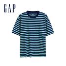 Gap男裝 舒適圓領條紋短袖T恤 532455-藍綠橫條紋