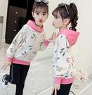衣童趣(•‿•)韓版女童秋冬新款 可愛兔子印花T恤 拼色百搭帽T
