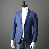 西裝外套 氣質藍 秋季新款外貿男裝工廠剪標尾單時尚修身西裝外套西服單西 年底清倉8折