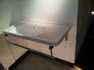 【麗室衛浴】90CM陶瓷洗衣槽+白鐵架