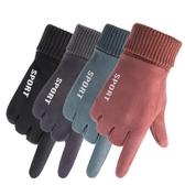 女士手套秋冬季保暖手套女士加絨加厚學生戶外騎行汽車防寒麂皮絨觸屏手套