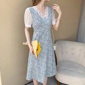 裙子洋裝實拍夏季韓版短袖雪紡碎花鏤空中長款V領連衣裙NE34A.8226胖胖唯依