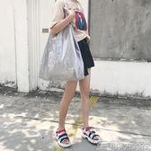 大包包女夏新款大容量銀灰色帆布包pvc防水手提單肩托特大包