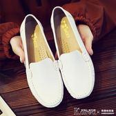 護士鞋 單鞋平底小白鞋舒適護士鞋白色休閒媽媽鞋軟底牛筋底皮鞋【韓國時尚週】