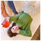 DE shop~簡約純色粗麻花閨蜜裝短版圓領長袖針織毛衣T恤(X-1940)
