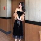 春裝韓版chic新款時尚復古赫本風長裙百搭網紅網紗絲絨連衣裙 時尚芭莎
