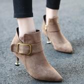 細跟短靴小跟短靴女春秋單靴細跟馬丁鞋女新款網紅瘦瘦靴百搭貓跟裸靴 唯伊時尚