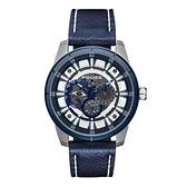 POLICE 潮流光速多功能腕錶-鋼色X藍色-15410JSTBL-04