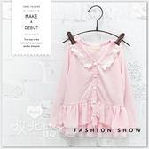 蕾絲氣質蛋糕珍珠釦外套 可愛 防曬 罩衫 冷氣房 薄 女童 童裝 韓版 彈性 蕾絲