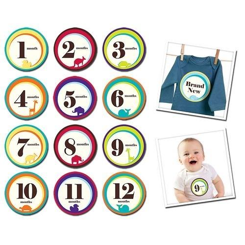 美國Sticky Bellies 寶寶月份貼紙1-12M(可愛動物)[衛立兒生活館]
