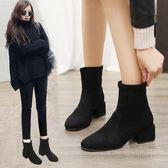 粗跟短靴女秋冬2019新款韓版時尚百搭網紅女鞋短筒女靴彈力瘦瘦靴