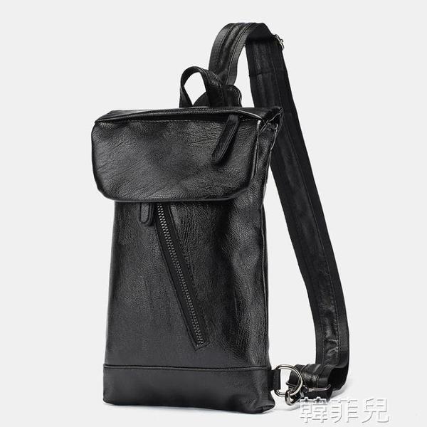 後背包 簡約男士小包新款皮質單肩包時尚街頭ipad斜跨包戶外後背包潮 韓菲兒