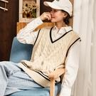 唐獅秋冬新款毛衣背心女針織毛線馬甲寬松坎肩學院風外穿白色全館免運