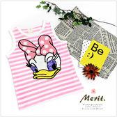 黛西亮片毛線電繡條紋背心 無袖 T恤 背心 夏天 粉紅 可愛 俏皮 蝴蝶結 美式 卡通 女童