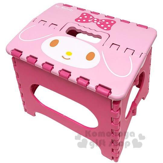 〔小禮堂〕美樂蒂 攜帶式塑膠折疊椅《S.粉.大臉》矮凳.板凳.野餐椅 4710716-95005