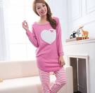 美式pink風 棉質兩件式睡衣 居家服(粉色)