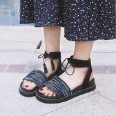 民族風涼鞋新款韓版ulzzang復古民族風涼鞋女厚底百搭學生夏季羅馬女鞋   草莓妞妞