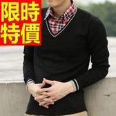 長袖毛衣修身成熟-氣質新款假兩件式男襯衫 3色59ac39【巴黎精品】
