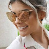 BVLGARI 太陽眼鏡 BG6093 2014-4Z (金-粉水銀藍鏡片) 蜂巢格紋女王款 墨鏡 # 金橘眼鏡