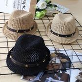 韓版春夏季兒童爵士帽沙灘出游禮帽遮陽帽男女寶寶鏤空透氣防曬帽『新佰數位屋』