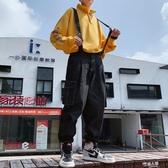 牛仔吊帶褲男士夏季寬鬆九分直筒韓版日系學生休閒吊帶連體褲