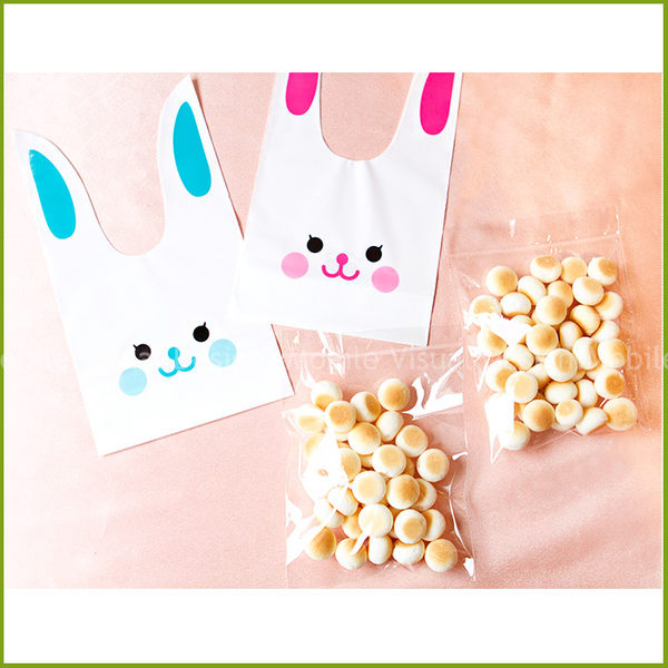 【(DIY裝入)可愛長耳朵微笑兔子小饅頭(附袋+小饅頭+蝴蝶結)】--幸福朵朵婚禮小物