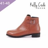 大尺碼女鞋-凱莉密碼-韓版率性簡約皮帶扣騎士風平底短靴3cm(41-48)【QZ7-109】棕色