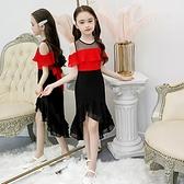 女童禮服 中大童女童拖尾魚尾公主洋裝子洋氣禮服兒童裝夏裝夏季雪紡紅黑-Ballet朵朵