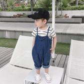 男寶寶背帶褲2018夏季薄款童裝男童牛仔