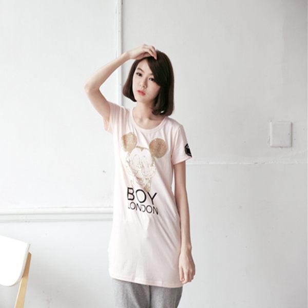 T恤【2156】Feelnet中大尺碼女裝2018夏装卡通印花短袖上衣3XL-5XL碼