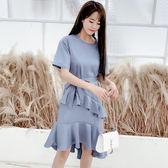 春季連身裙新款韓版洋裝2019夏甜美純色閨蜜裝圓領荷葉邊包臀魚尾裙洋裝 ZJ5263【潘小丫女鞋】