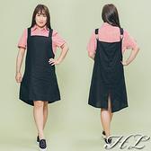 .GAG GLE超大尺碼.【18060005】簡約黑金屬環飾舒適吊帶背心裙 1色
