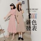 洋裝 Space Picnic|後拉鍊百摺短袖洋裝(現+預)【C20048108】