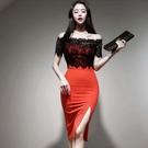 洋裝 性感裙 內搭 S-XL新款性感蕾絲拼接撞色一字領連身裙女包臀中裙 H538-9549.皇朝天下