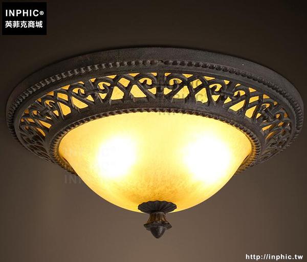 INPHIC- 美式鄉村吸頂燈歐式復古田園大氣餐廳客廳臥室玻璃吸頂燈_S197C
