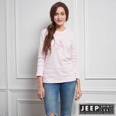 【JEEP】女裝 簡約3D立體圖騰長袖TEE (淺粉)