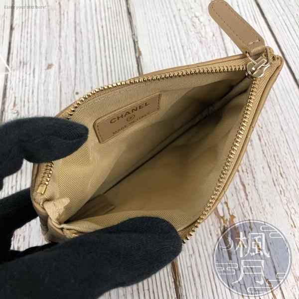 BRAND楓月 CHANEL 香奈兒 27開 金色 經典菱格紋 拉鍊零錢包 卡包 POUCH