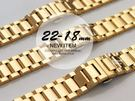 完全計時手錶館│豪邁型男必備 18-24mm  實心316L鋼帶/不鏽鋼錶帶 鋼5-2 金色
