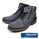 【PEGADA】巴西名品牛皮拉鍊中筒靴 藍灰色(180781-BU)