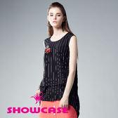 【SHOWCASE】條紋無袖前短後長長版上衣(黑)