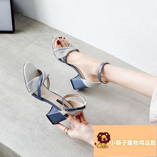 百搭溫柔仙女風一字扣帶高跟鞋粗跟涼鞋女夏季韓版時尚【小狮子】