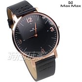 Max Max 義大利時尚 文青風格 薄型化美學 大錶框時尚 防水 藍寶石水晶 中性錶 黑x玫瑰金 MAS7039-1