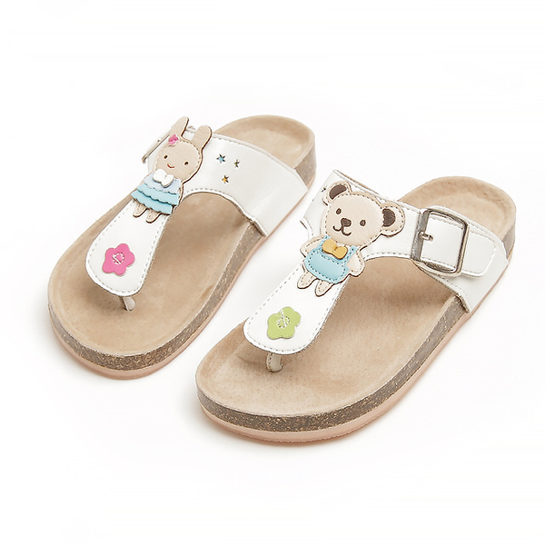 【Jingle】小熊娃娃T字軟木涼鞋(純潔白兒童款)