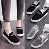 老北京布鞋女鞋春夏平底單鞋一腳蹬休閒懶人學生板鞋女帆布鞋 夏季狂歡