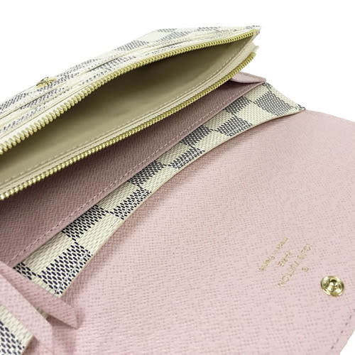 Louis Vuitton LV N41625 EMILIE 白棋盤格紋扣式零錢長夾.粉紅色 全新 預購【茱麗葉精品】